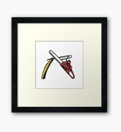 Chainsaw Straight Razor Crossed Woodcut Framed Print