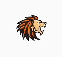 Angry Lion Big Cat Growling Head Woodcut Unisex T-Shirt