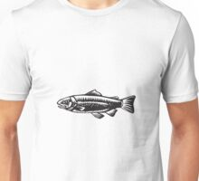 Sea Trout Spotted Woodcut Unisex T-Shirt