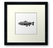 Sea Trout Spotted Woodcut Framed Print