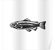 Sea Trout Spotted Woodcut Poster