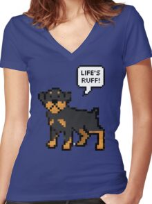 Life's Ruff Women's Fitted V-Neck T-Shirt