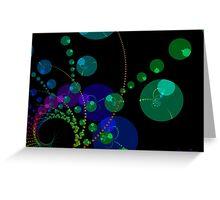 Dance of the Spheres II - Cosmic Violet & Teal Greeting Card