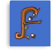 Medieval Squirrel Letter F Canvas Print