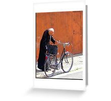 A Priest And His Bicycle. Greeting Card