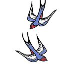 Vintage love swallows by IamJane--