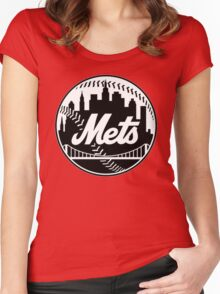 NY METS LOGO B/W Women's Fitted Scoop T-Shirt