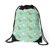 Korean alphabets, rabbit and carrot Drawstring Bag