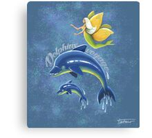 Dolphins voyage - acrylic painting Canvas Print