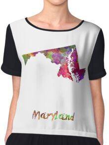 Maryland US state in watercolor Chiffon Top