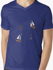 Sailing pattern Mens V-Neck T-Shirt