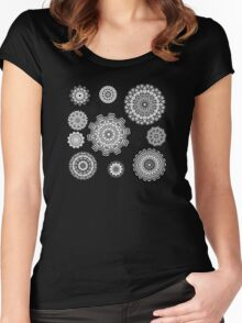 Flower Ornament Black and White 2 Women's Fitted Scoop T-Shirt