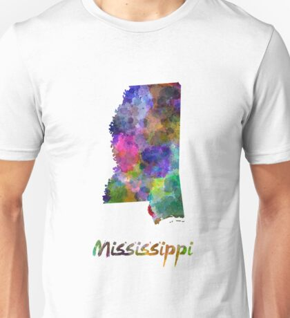Mississippi US state in watercolor Unisex T-Shirt
