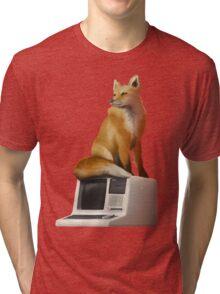 The Fox on a Computer Tri-blend T-Shirt