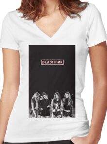 black pink 6 Women's Fitted V-Neck T-Shirt