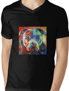 Stafforshire Bull Terrier Mens V-Neck T-Shirt