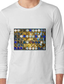 Blue mosaic glass window at sunset Long Sleeve T-Shirt