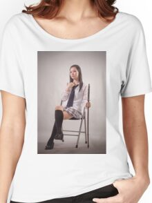 Samurai Japanese woman sit on a chair Women's Relaxed Fit T-Shirt