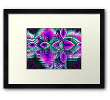 Teal Violet Crystal Palace, Abstract Fractal Cosmic Heart Framed Print