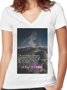 Harambe is always watching (inspirational) Women's Fitted V-Neck T-Shirt