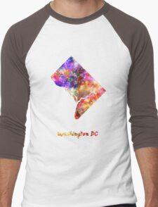 Washington DC US state in watercolor Men's Baseball ¾ T-Shirt