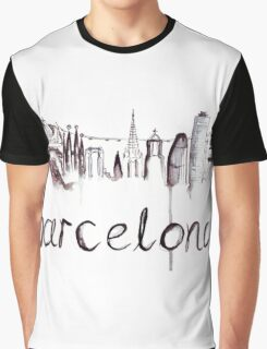 Barcelona Skyline Watercolour Illustration Graphic T-Shirt