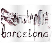 Barcelona Skyline Watercolour Illustration Poster