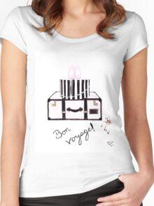 Bon Voyage Watercolour Illustration Women's Fitted Scoop T-Shirt
