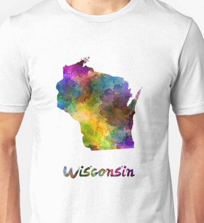 Wisconsin US state in watercolor Unisex T-Shirt