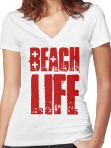 Beach Life Women's Fitted V-Neck T-Shirt