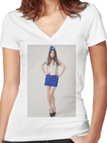 beautiful asian woman Women's Fitted V-Neck T-Shirt
