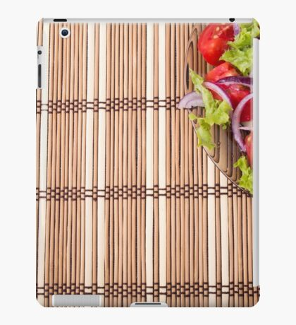 Fragment of a transparent plate of fresh vegetarian salad of raw vegetables iPad Case/Skin