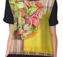 Transparent plate with fresh summer salad on a table Chiffon Top
