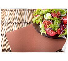 Plate with fresh salad of raw tomatoes and lettuce Poster