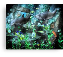 Dolphin's Under The Sea   Canvas Print