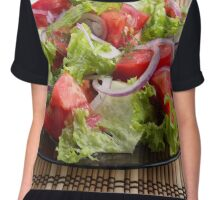 Closeup plate with a salad of chopped tomato slices Chiffon Top