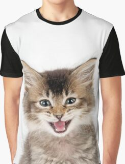 Cute Tabby kitten laughing Graphic T-Shirt