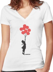 BANKSY - RED BALLOONS Women's Fitted V-Neck T-Shirt