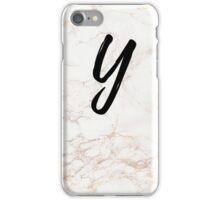 Pink Marble Effect Monogram - Y iPhone Case/Skin