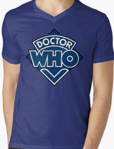 Doctor Who Diamond Logo Blue White Lines. Mens V-Neck T-Shirt