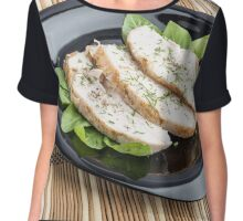 Baked slices of chicken meat on a black plate Chiffon Top