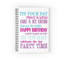 Birthday Fun - Pink Spiral Notebook
