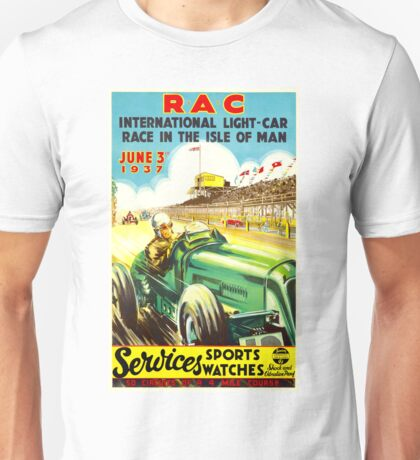 """ISLE OF MAN"" Vintage Grand Prix Auto Race Print Unisex T-Shirt"