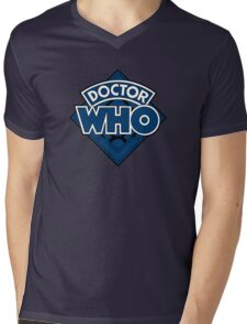Doctor Who - Diamond Logo Blue Black Bars Mens V-Neck T-Shirt
