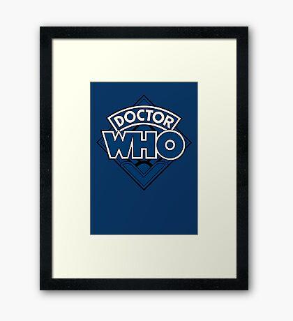 Doctor Who - Diamond Logo Blue Black Bars Framed Print