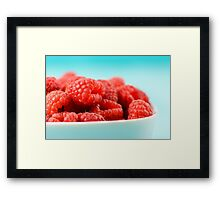 White Bowl Of Red Fresh Raspberries Framed Print
