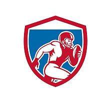 American Football Player Running Shield Retro by patrimonio