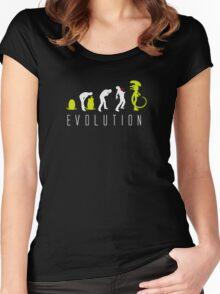 Evolution of Alien Funny Logo Women's Fitted Scoop T-Shirt