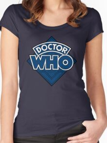 Doctor Who - Diamond Logo Flat Blue. Women's Fitted Scoop T-Shirt