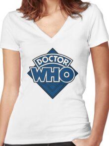 Doctor Who - Diamond Logo Flat Blue. Women's Fitted V-Neck T-Shirt